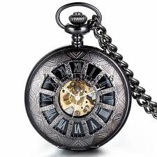 Black Vintage Mechanical Skeleton Steampunk Men Pocket Watch Necklace Chain Gift