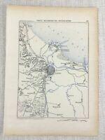 1881 Antique Military Map of Danzig Gdansk Poland Wisloujscie Fortress Polish