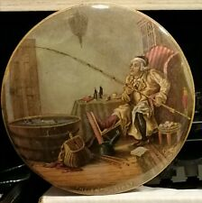 Victorian Prattware Pot Lid - 'The Enthusiast' the Fisherman practising at Home!