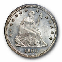 1890 25C Seated Liberty Quarter PCGS MS 62 Uncirculated Tough Date Lustrous