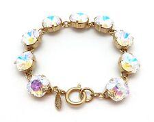 "CATHERINE POPESCO 12mm LIMITED ED Crystal AB Swarovski Gold Bracelet 7.5"""