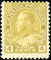 Mint H Canada 4c 1922 F Scott #110 King George V Admiral Issue Stamp