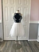 Blondie Nites by Stacy Sklar White And Blue Size 11 Junior A-Line Dress