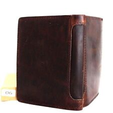 Men's real Leather wallet 6 credit cards slots 3 id windows Trifold RFID Davis R
