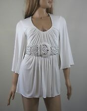 Sky White Kimono Slit Sleeve Top with Leather Belt (Large)