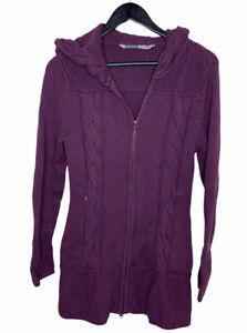Athleta Ribbed Knit Hooded Zip Up Long Jacket Medium White Purple W Thumbholes