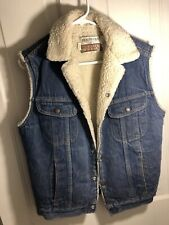 Vintage Sears Roebuck Fleece Lined Western/Cowboy Snap Button Denim Vest 38R