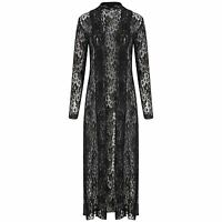 Ladies Long Floral Lace Mesh Crochet Kimono Long Sleeve Maxi Boyfriend Cardigan