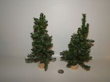 "Lot of 2 - Christmas Village Trees, Wooden Bases Approx 9"" Tall"