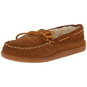 Minnetonka Mens Pile Lined Hardsole Brown Moccasin Slippers 13 Medium (D) 5215