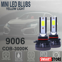 9006 HB4 LED Headlight Kit High Low Beam Fog Lights COB-3000K Yellow Bulbs Light