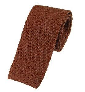 Men's Plain Toffee Brown Wool Knitted Tie (U102/32)