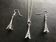 3D EIFFEL TOWER PARIS  NECKLACE EARRINGS SIiver Plated Hooks  in gift bag