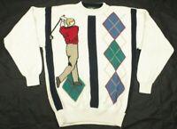 Jantzen Vintage Mens Golf Sweater Pullover Crew Neck Beige Small