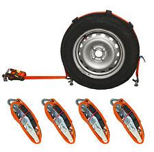 4x Spanngurt AUTO TRANSPORT 50m Zurrgurt Radsicherung PKW Trailer Reifengurt (15