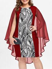 Plus Size XL-5XL Women's Cape Sheath Bodycon Dress Casual Floral Evening Party