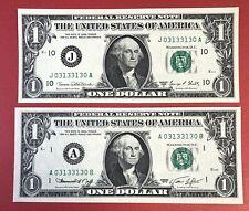 US Banknotes Radar Serial # 0313-3130 $1 Dollars Bill 1969D-74 UNC. (#2285)