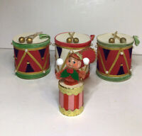Japan Flocked Drum Ornaments And Elf On Drum Ornament Set Of 4 Vintage