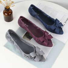 Womens Hollow Jelly Non-slip Sandals Flat Bottom Beach Shoes Waterproof Non-slip