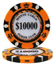 100 Orange $10000 Monte Carlo 14g Clay Poker Chips - Buy 3, Get 1 Free