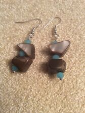 Natural Shell and Blue Crystal Bead Drop Earrings