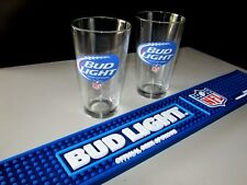 New Bud Light Nfl Rubber Football Beer Bar Spill Mat 2 Pint Glass Combo Beer