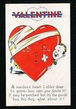 Greeting VALENTINE Heart Romance comic Used 1937 artist drawn PPC
