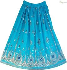 Blue Boho Gypsy Hippie Lotus Flower Silver Gold Sequin Indian Paisley Skirt