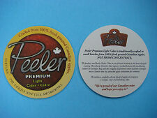 Beer Bar Coaster: PEELER Premium Light Cider: 100% Fresh Pressed Canadian Apples