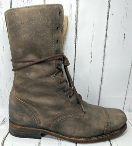 AllSaints Spitalfields Womens Shearling Suede Military Combat Bootss US 9 /40