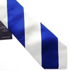 CHARLES TRYWHITT, WOW! VIBRANT BLUE & WHITE 'LESBURY ROYAL STRIPE' TIE, FREEPOST