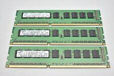 Lot of 3 Samsung M391B2873DH1- CHF 1GB 1Rx8 PC3-8500E Server RAM