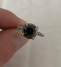 White Diamond Ring 925. Solid Silver 1.37ct Black &