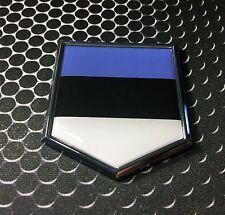 "Estonia Flag Domed CHROME Emblem Proud Flag Car 3D Sticker 2""x 2.25"""