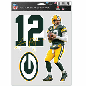 AARON RODGERS GREEN BAY PACKERS 3 PIECE MULTI-USE DECAL FAN PACK NFL LICENSED