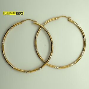 Gold On 925 Silver Medium Patterned Hoop Earrings-Fully Hallmarked&FREE P&P