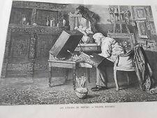 Gravure 1886 - Atelier du Peintre  Philippe Rousseau