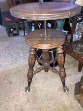 Antique Victorian Piano Stool Cast Iron Claw Glass Ball Feet Swivel Walnut