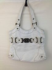 Red Marc Ecko Purse Handbag White Pebbled Faux Leather Buckle Trim Stud detail