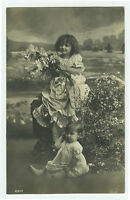 c 1910 child Children Pretty Springtime CUTE GIRL PAIR photo postcard