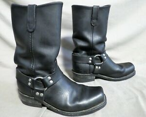 MENS DOUBLE H BLACK LEATHER BUCKLE ENGINEER MOTORCYCLE BOOTS SIZE 10.5 EE