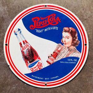 ORIGINAL OLD ENAMEL PLATE DRINK PEPSI COLA 1965 COMPANY VINTAGE PORCELAIN SIGN