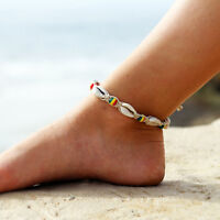 Women Ankle Bracelet Silver Anklet Foot Chain Beach Beads Jewellery Boho KV