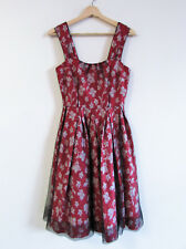 Cue Size 6 Maroon Floral Jacquard Black Tulle Overlay Fit Flare Cocktail Dress