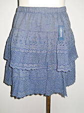 Old Navy Tiered Embroidered Soft Chambray Denim Skirt NWT S