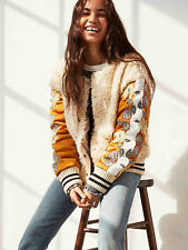 Free People Dandelion Furry Varsity Jacket Floral Embroidered Bomber Large New