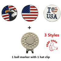 """Golf Ball Marker With Magnetic Hat Clip """"American Flag""""  """"US Eagle"""" """"I LOVE USA"""""""