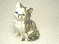 "VINTAGE 3 1/2"" GRAY TAN STRIPED PORCELAIN CERAMIC CAT KITTEN FIGURINE BLUE EYES"