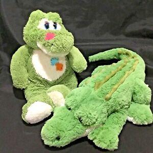 DINKI DI GREEN CROCODILE SOFT ANIMAL PLUSH TOYS x 2