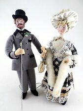 2 Handmade Artist Dolls England - Vintage - Man & Woman Victorian Dress - 12""